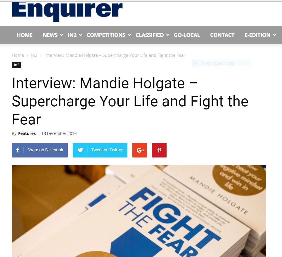 Mandie Holgate fight the fear PR journalist