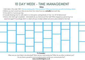 time management tool 10 day week